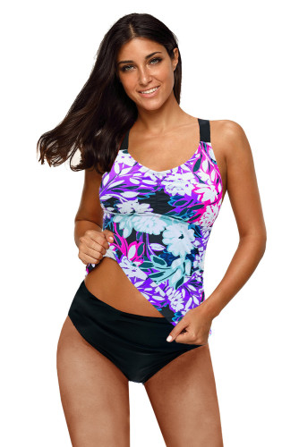 Purple Floral Printed Strappy Racerback Tankini Swim Top LC46057-8