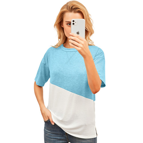 Light Blue Color White Loose Style Casual Tops TQK210616-30
