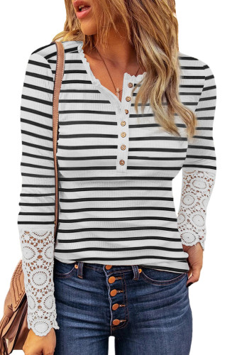 White Lace Striped Splicing Hollow-out Button Long Sleeves Top LC2514151-1