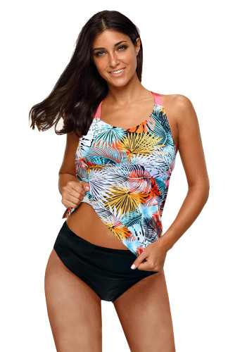 Yellow Floral Printed Strappy Racerback Tankini Swim Top LC46057-7