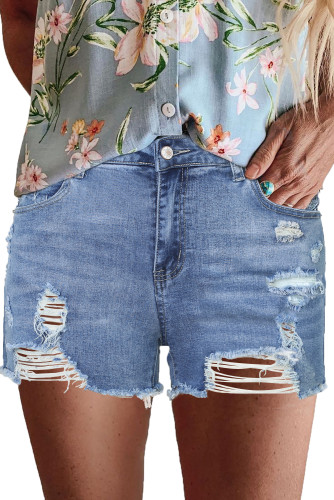 Blue High Rise Destroyed Denim Shorts LC78839-5