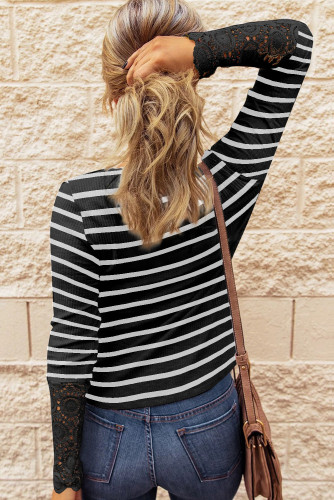 Black Lace Striped Splicing Hollow-out Button Long Sleeves Top LC2514151-2