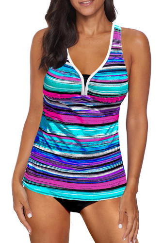 Sky Blue Striped Tie-dye Racerback Tankini Swimsuit LC411483-4