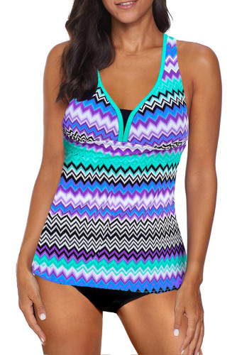 Wave Stripe Racerback Tankini Swimsuit LC411483-7