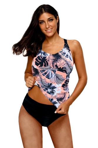 Pink Floral Printed Strappy Racerback Tankini Swim Top LC46057-10