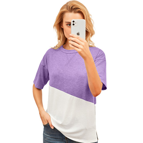 Light Purple Color White Loose Style Casual Tops TQK210616-38