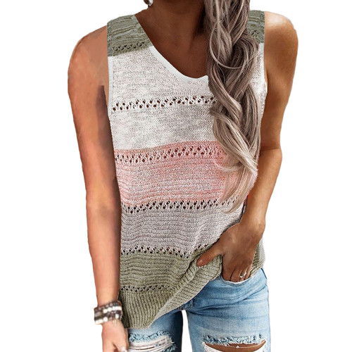 Army Green Multicolor Block Knitted Tank Top TQK250103-27