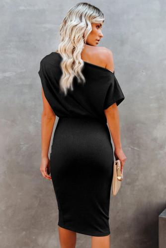 Black Boat Neck Knit Midi Dress LC224055-2