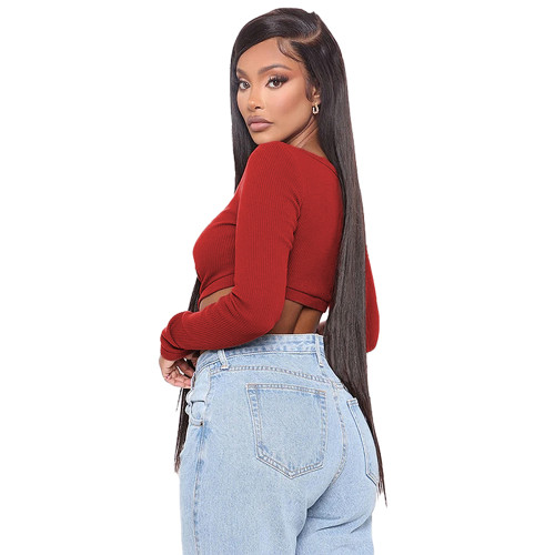 Red Hollow Out V Neck Long Sleeve Bodysuit TQK550218-3