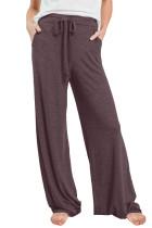 Wine Drawstring Lounge Pants LC77343-3