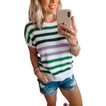 Green Multicolor Striped Short Sleeve Sweater TQK271220-9