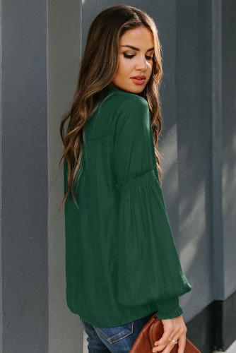 Green Satin V-neck Lantern Sleeve Drawstring Blouse LC255414-9