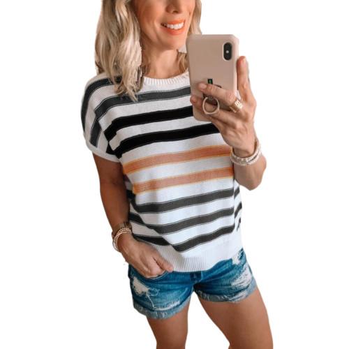 Black Multicolor Striped Short Sleeve Sweater TQK271220-2