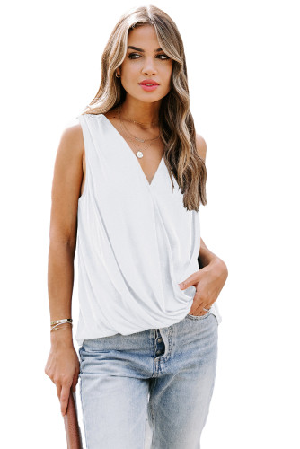 White Surplice V Neck Tank LC256495-1