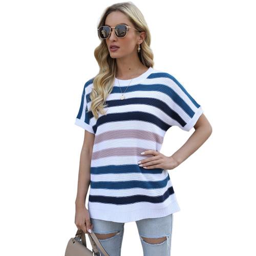 Blue Multicolor Striped Short Sleeve Sweater TQK271220-5