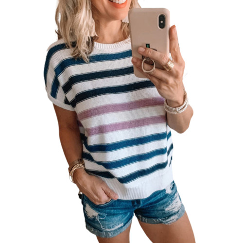 Blue Multicolor Striped Short Sleeve Sweater TQK271220-5