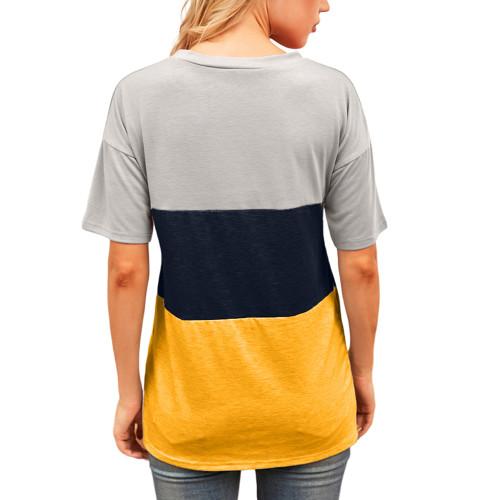 Yellow Color Block Cotton Blend Short Sleeve T-Shirt TQK210617-7