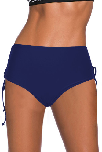 Blue Drawstring Ruched Sides High Waist Swim Panty LC472026-5