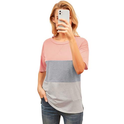 Pink Color Block Cotton Blend Short Sleeve T-Shirt TQK210617-10