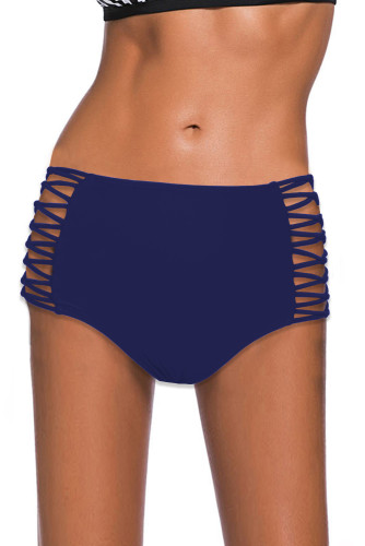 Blue Hollow-out Sides High Waist Swim Bottoms LC472027-5