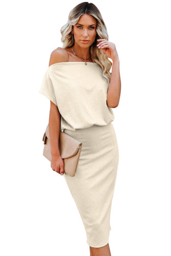Beige Boat Neck Knit Midi Dress LC224055-15