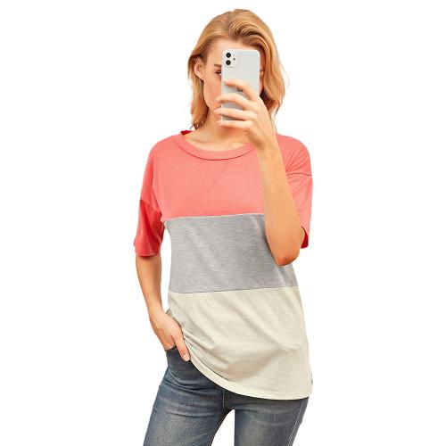 Red Color Block Cotton Blend Short Sleeve T-Shirt TQK210617-3