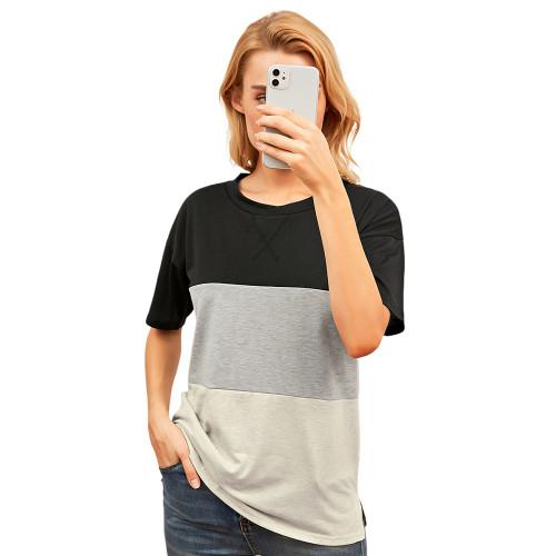 Black Color Block Cotton Blend Short Sleeve T-Shirt TQK210617-2