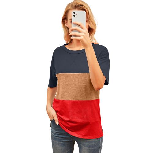 Orange Color Block Cotton Blend Short Sleeve T-Shirt TQK210617-14