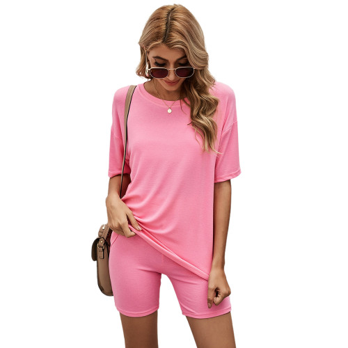 Pink Solid Loungewear Short Sleeve with Shorts Set TQK710255-10