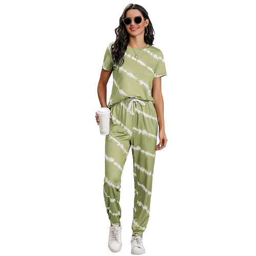 Grass Green Stripes Short Sleeve Pant Loungewear Set TQK710256-61