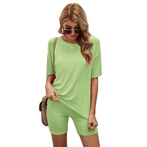 Grass Green Solid Loungewear Short Sleeve with Shorts Set TQK710255-61