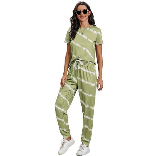 Grass Green Stripes Short Sleeve Pant Loungewear Set TQK710256-61