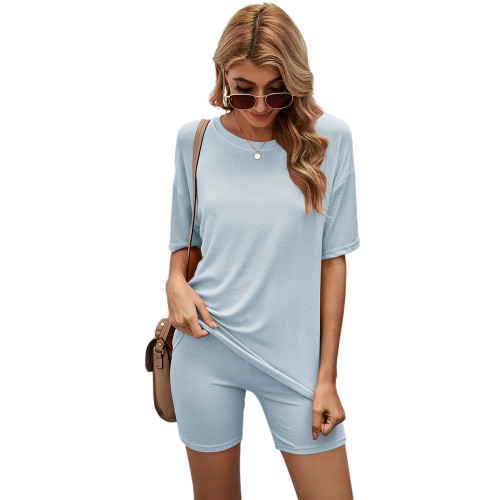 Pewter Solid Loungewear Short Sleeve with Shorts Set TQK710255-43