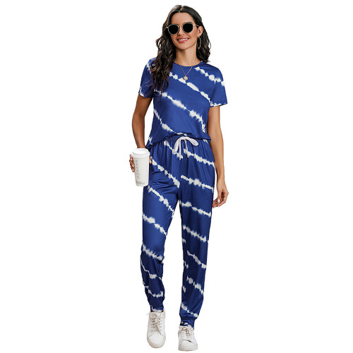 Blue Stripes Short Sleeve Pant Loungewear Set TQK710256-5