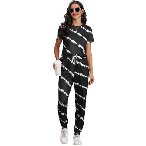 Black Stripes Short Sleeve Pant Loungewear Set TQK710256-2