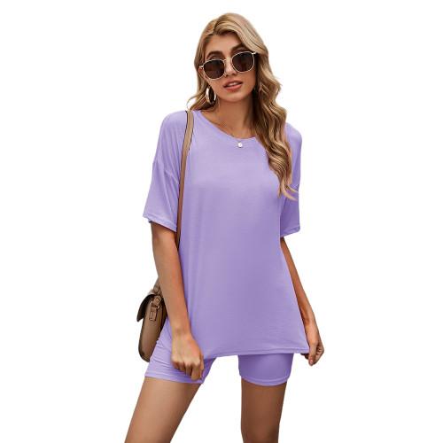 Purple Solid Loungewear Short Sleeve with Shorts Set TQK710255-8