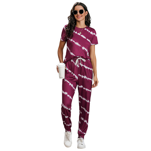 Wine Red Stripes Short Sleeve Pant Loungewear Set TQK710256-103