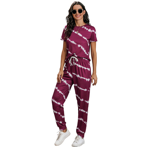 Wine Red Stripes Short Sleeve Pant Loungewear Set TQK710256-103