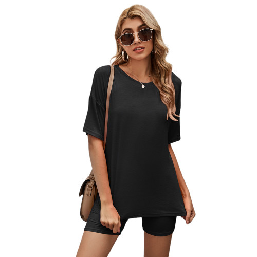 Black Solid Loungewear Short Sleeve with Shorts Set TQK710255-2