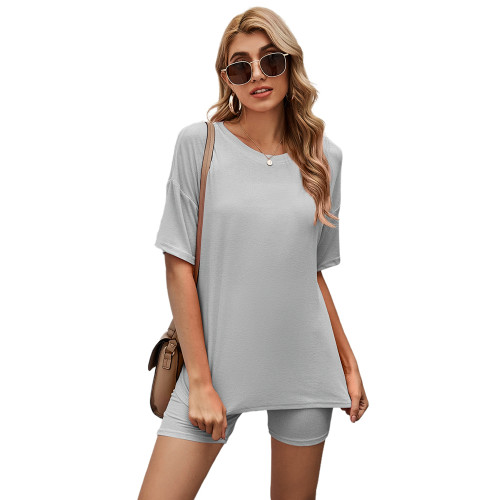 Light Gray Solid Loungewear Short Sleeve with Shorts Set TQK710255-25