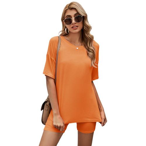 Orange Solid Loungewear Short Sleeve with Shorts Set TQK710255-14