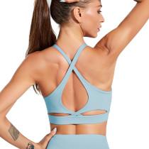 Dark Blue Back Crisscross Sportswear Yoga Bra TQE10141-77