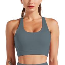 Dark Gray Back Crisscross Sportswear Yoga Bra TQE10141-26