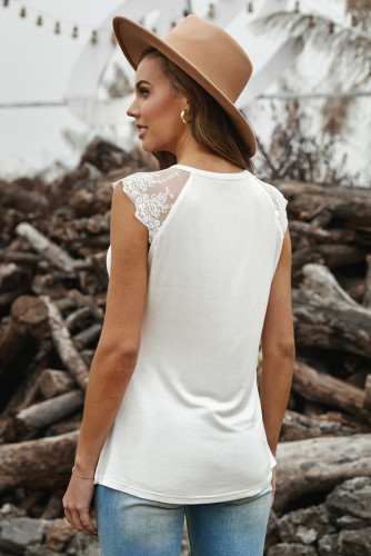 White Lace Cape Flowy Tank Top LC256437-1