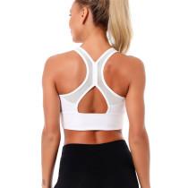 White Mesh Splice Running Sportswear Bra TQE10143-1
