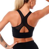 Black Mesh Splice Running Sportswear Bra TQE10143-2
