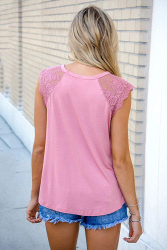 Pink Lace Cape Flowy Tank Top LC256437-10