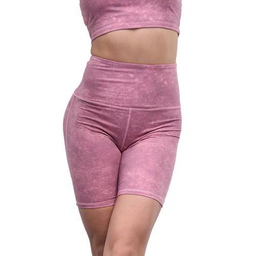 Rosy Digital Print Breathable 1/2 Length Yoga Shorts TQE10103-6