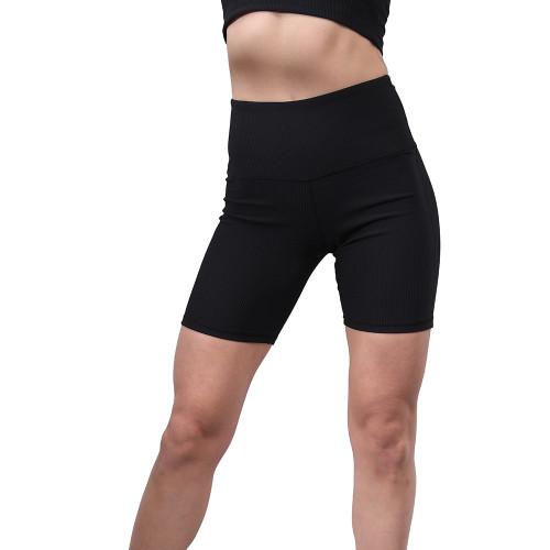Black 1/2 Length Breathable High Waist Yoga Shorts TQE10108-2