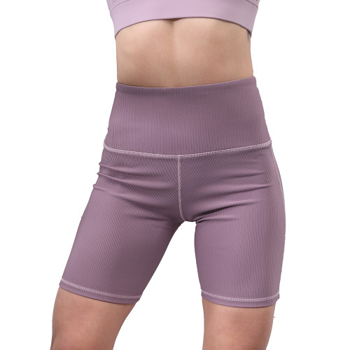 Pink Taupe 1/2 Length Breathable High Waist Yoga Shorts TQE10103-87